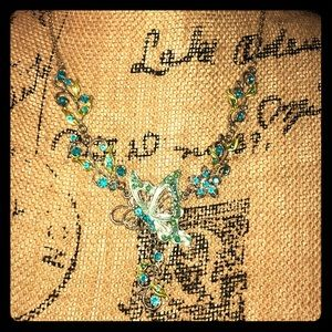 Jewelry - Glass rhinestone butterfly and flower necklace
